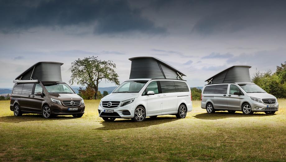 Mercedes v. В нашей стране доступны три версии кемпера: Activity (от 3 649 740 рублей), Horizon (4 240 643) и «просто» Marco Polo (4 457 408). Под подъёмной крышей у каждого есть спальное место для двоих.