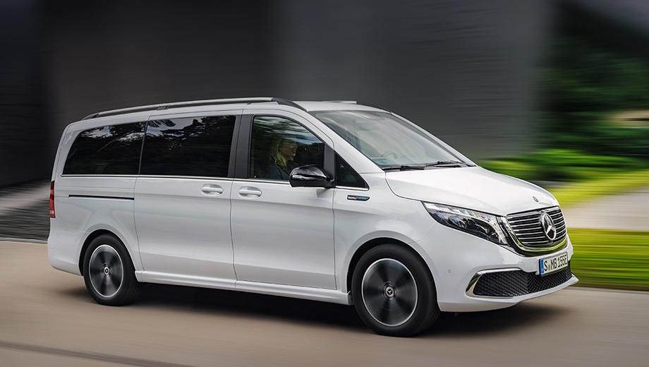 Mercedes eqv. Электрокар будет выпускаться в двух версиях по длине (5140 мм при базе в 3200 и 5370 мм при базе в 3430) с числом мест семь или восемь. Багажник может достигать в объёме 1030 л (в зависимости от комплектации и оборудования).