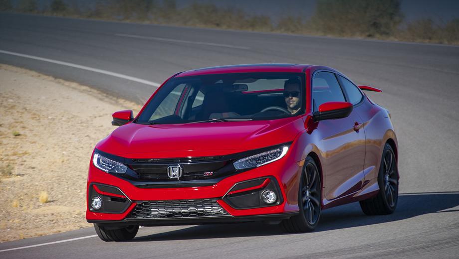 Honda civic,Honda civic coupe. Светодиодные фары отныне размещены на чёрной подложке и работают эффективнее. Над новыми противотуманками внедрены Г-образные поперечины в цвет кузова. По мнению Хонды, этого достаточно для «более агрессивного вида».