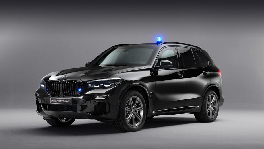 Bmw x5. Автомобиль сертифицирован по стандартам BRV 2009, ERV 2010 и PAS 300, описывающим типы пуль и взрывчатых средств, от которых он обязан защитить водителя и пассажиров.