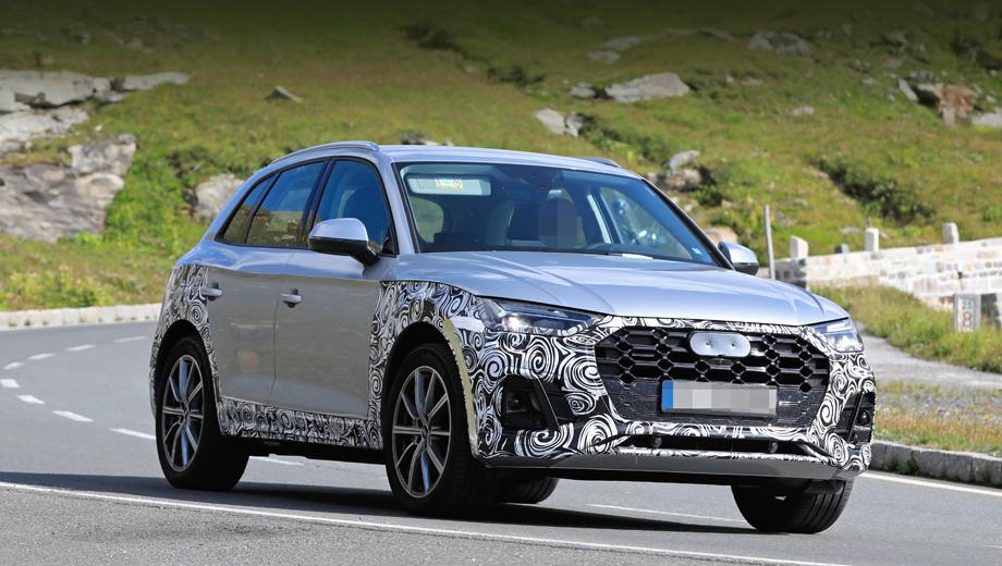 Audi q5. Решётка радиатора поменяла не только рисунок, обретя крупные соты, но и внешние контуры — из шестиугольной стала восьмиугольником. Фары получили и новое наполнение, и новую форму — внутренние уголки заострились сильнее прежнего.