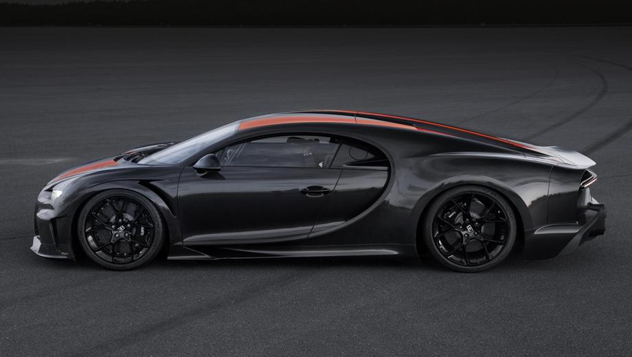 Bugatti chiron. У особой версии модели Chiron переделана вся хвостовая часть: она на 25 см длиннее стандартной. У подвески с автоматической регулировкой появился лазерный контроль клиренса, позволивший заметно его снизить.