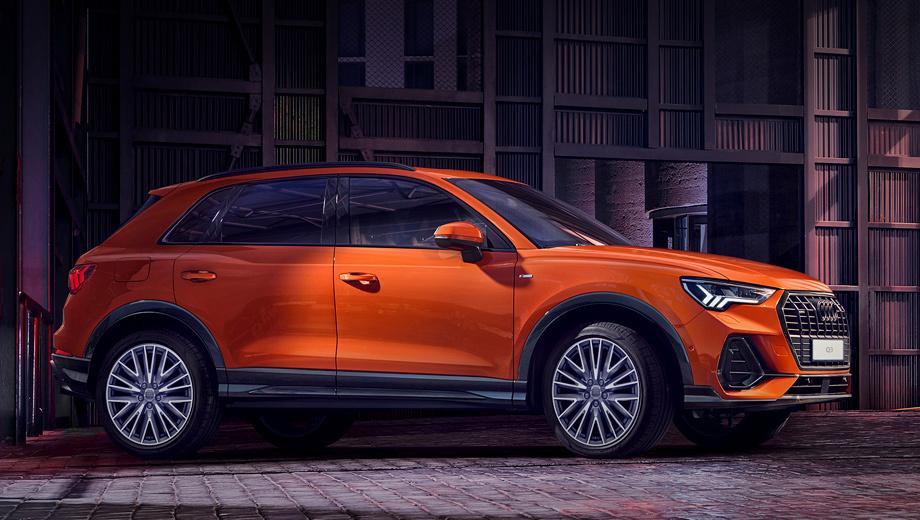 Audi q3. Приветственная серия Start Edition предложена по ценам от 2 490 000 рублей. Такие машины идут в исполнениях Design и Sport, будучи окрашенными в оранжевый Pulse Orange (на фото) либо в синий Turbo Blue. Список стандартного оборудования у них существенно расширен.