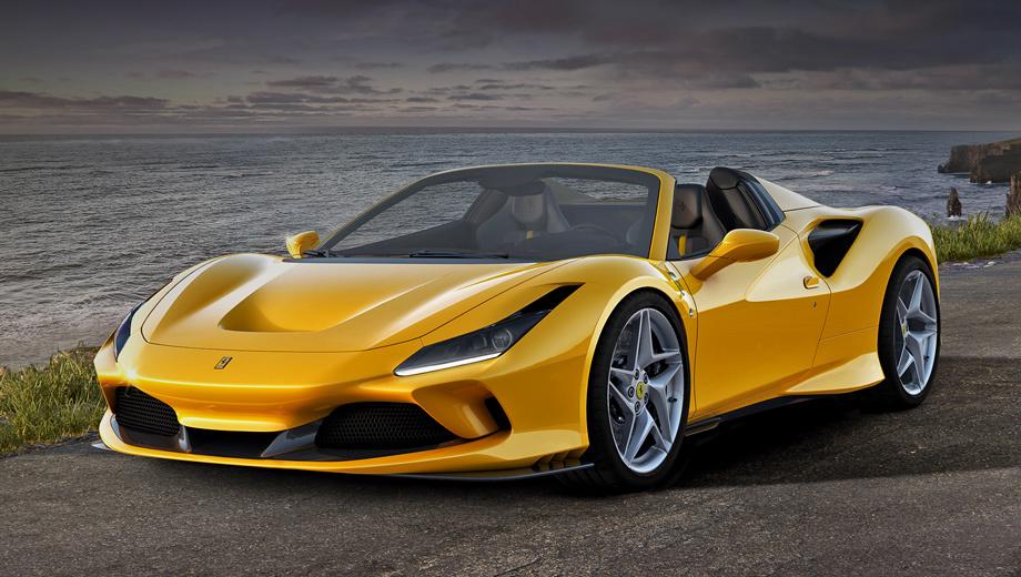 Ferrari f8,Ferrari f8 spider. Новая двухдверка заменяет собой Ferrari 488 Spider и, понятно, обыгрывает его по многим статьям: мощность на 50 сил больше, масса на 20 кило ниже (1400 кг), аэродинамическая эффективность на 10% выше. Однако в спурте до 100 км/ч их разделяет лишь одна десятая секунды.