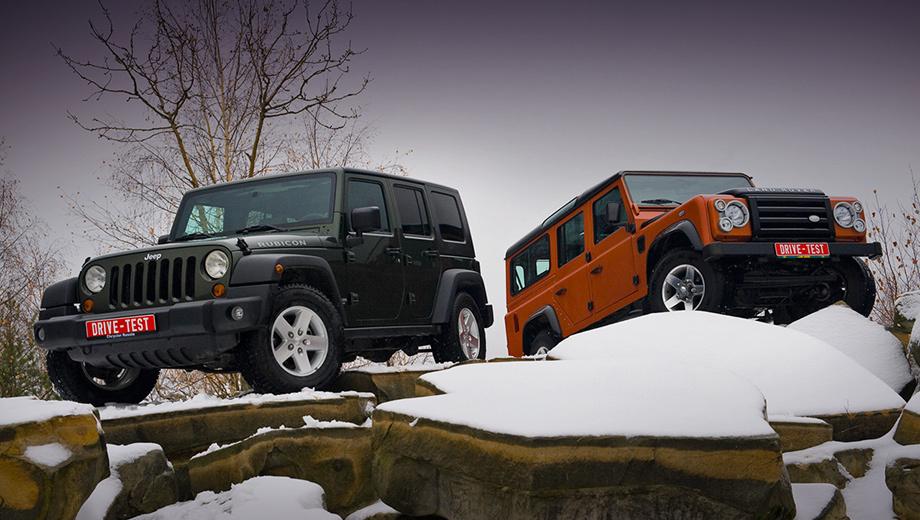 Jeep wrangler,Land rover defender. В левом углу ринга Jeep Wrangler с «автоматом» — бензиновым двигателем V6 — и подключаемым передком. В правом — Land Rover Defender. Турбодизель, «механика» и полный привод с блокировкой межосевого дифференциала.