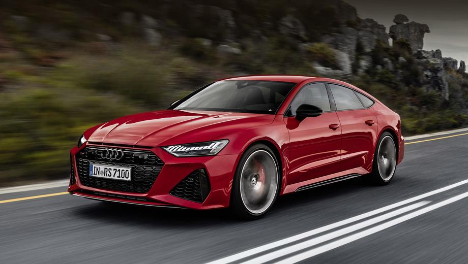 Audi rs7. Крупные воздухозаборники — далеко не единственное, что изменило облик RS7 по сравнению с простой A7, передние крылья тут раздуты на четыре сантиметра в сумме (до общей ширины 1950 мм). Длина RS7 также чуть больше (5009 мм против 4969).