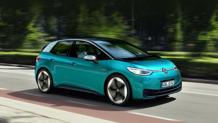Volkswagen id 3. На первых порах ID.3 будет выпускаться с одним 204-сильным электромотором на задней оси и с батареей на 58 кВт•ч (420 км хода по циклу WLTP). Но позднее число версий на конвейере будет расти.