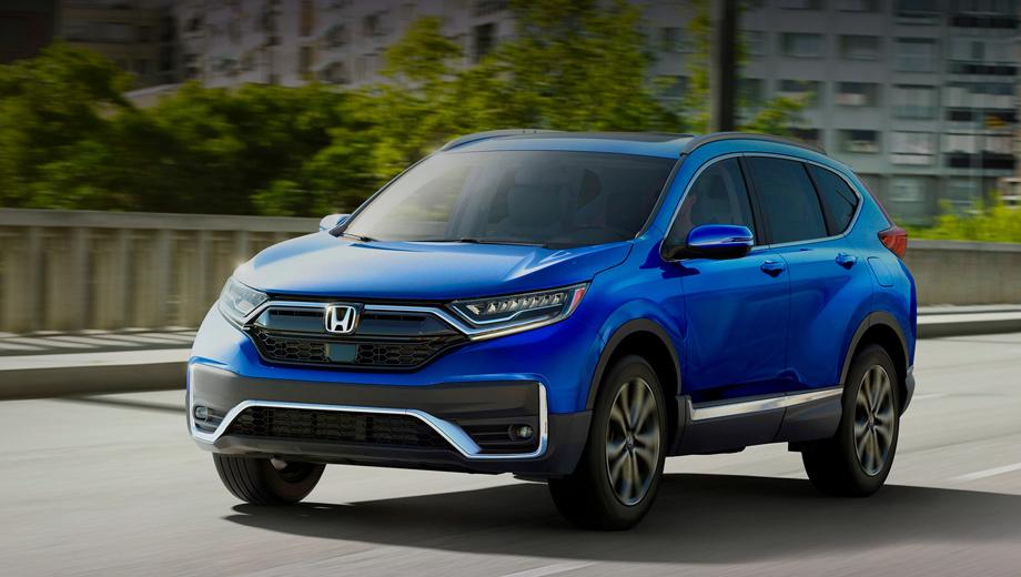 Honda cr-v,Honda cr-v hybrid. Главное изменение во внешности — новые бамперы с хромированными загогулинами. Чёрный пластик «съел» нижнюю часть передка, ранее окрашенную в цвет кузова. Противотуманки у негибрида теперь круглые, а CR-V Hybrid использует планки с пятью светодиодами.