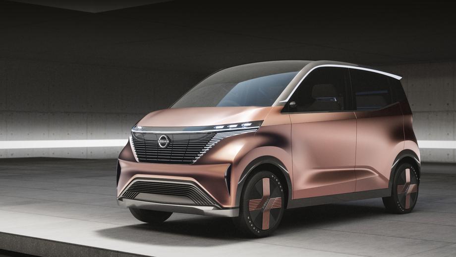 Nissan imk,Nissan concept. Длина, ширина, высота шоу-кара равны 3434, 1512 и 1644 мм. Во внешности намеренно взят курс на минимализм. Цвет кузова Akagane имитирует красноватую бронзу или медь. В новую интерпретацию декоративной решётки V-motion, конечно, встроены различные сенсоры.