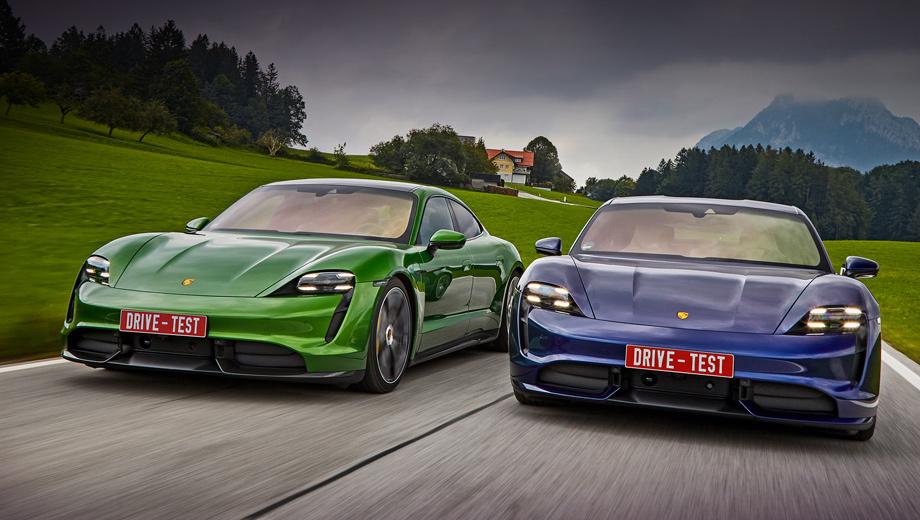 Porsche taycan. Turbo S (слева) за без малого 13 млн рублей отличается от Turbo за 10,6 млн не только силовой электроникой. «Эске» по умолчанию положены композитные тормоза и более крупные колёса диаметром 21 дюйм. Живые машины прибудут в Россию осенью 2020-го. Надеюсь, поднастроенными.