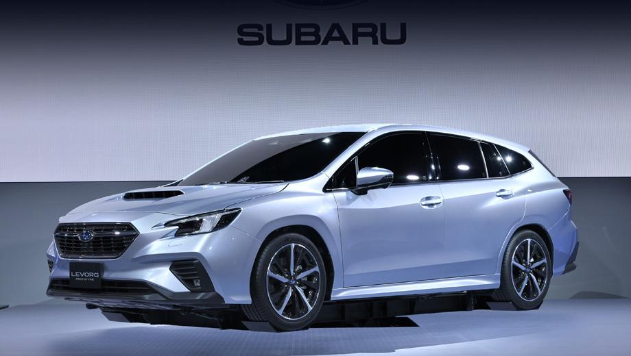 Subaru levorg. Сходство с предвещавшим универсал концептом Viziv Tourer усматривается в складках вокруг решётки, форме крылышек в переднем бампере и колёсных арок. Рельеф на бортах тоже весьма похож, фары — немного, а фонари — сильнее.