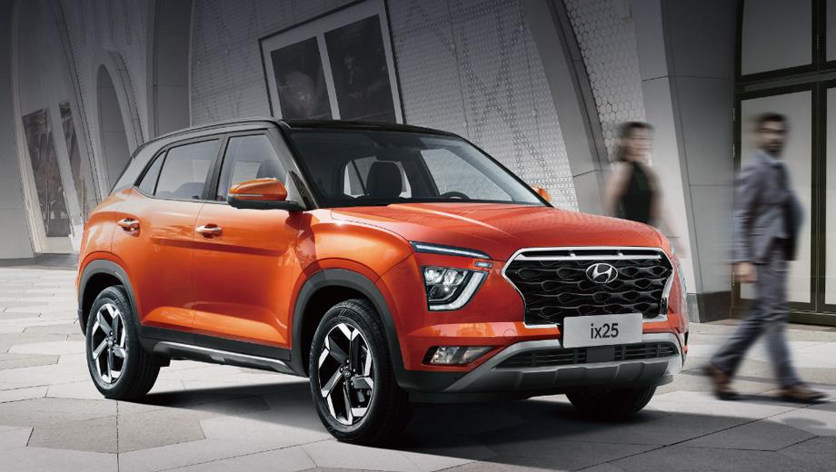 Hyundai ix25,Hyundai creta. Брат-близнец нашей Креты решительно сменил облик, однако в длину не вырос совсем — 4300 мм. Ширина и высота прибавили по 10 мм — 1790 и 1635. Колёсная база увеличена на 20 (2610 мм). Похоже, слухи о грядущей в 2020 году трёхрядной версии не подтвердились.