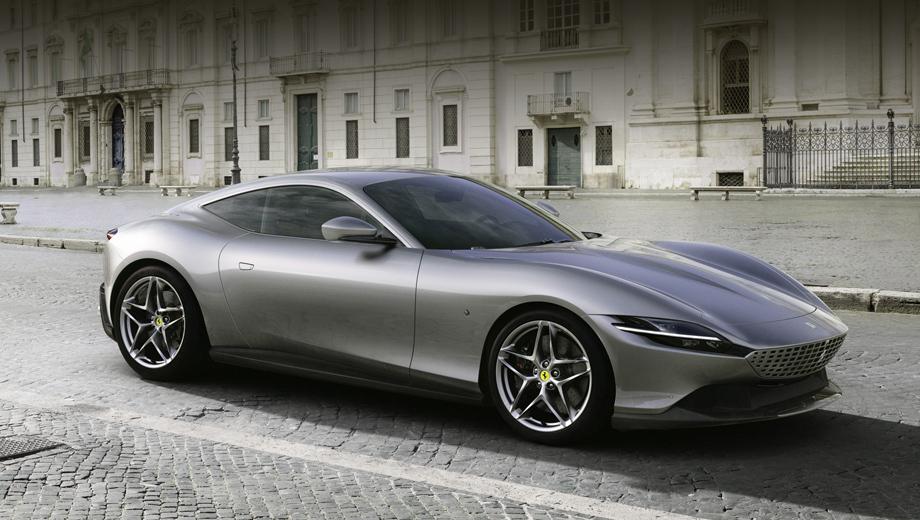 Ferrari roma. Длина, ширина, высота и колёсная база модели равны 4656, 1974, 1301 и 2670 мм. Сухая масса купе составляет 1472 кг.