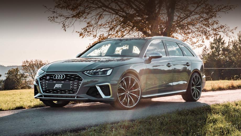 Audi s4,Audi abt  s4. Форсировка дополнена занижением подвески (от 15 до 40 мм на выбор) за счёт наборов пружин ABT Coilover и уменьшением кренов за счёт новых стабилизаторов поперечной устойчивости, опять же, от Абта.