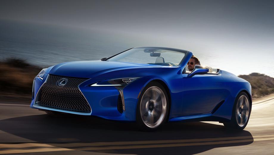 Lexus lc,Lexus lc convertible. Lexus LC 500 Convertible в исполнении Inspiration Series отличается от стандартных версий цветом кузова Structural Blue, синей крышей и серой окантовкой фар, фонарей и выпускных патрубков. К слову, мягкий верх опускается за 15 с, а поднимается за 16. И всё это на скорости до 50 км/ч.