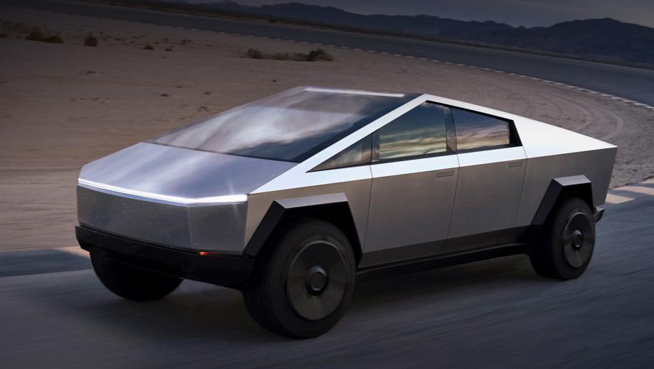 Tesla cybertruck. Длина — 5885 мм, ширина — 2027, высота — 1905 мм, колёсная база неизвестна. (Размеры не рекордные, к примеру, бестселлер Ford F-150 в версии SuperCab вытянулся на 6363.) Клиренс благодаря идущей «в базе» адаптивной пневмоподвеске достигает 406 мм, угол въезда — 35°, съезда — 28°.
