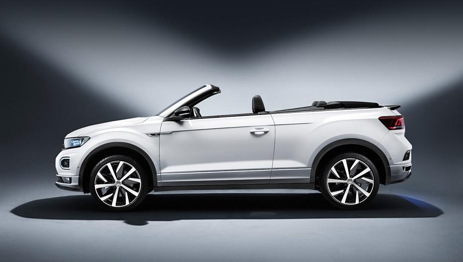 Volkswagen t-roc,Volkswagen t-roc cabriolet. Модель комплектуется моторами 1.0 TSI (115 л.с., 200 Н•м) и 1.5 TSI (150 л.с., 250 Н•м) с передним приводом, шестиступенчатой «механикой», а 150-сильный вариант может быть также с семиступенчатым «роботом».