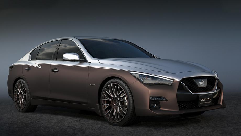 Nissan skyline. Кузов концепта Skyline Deluxe Advanced щеголяет двухцветной раскраской, совмещая матовые коричневый и серебристый. Гамма повторяется в кожаной отделке салона. Видимо, это реверанс перед марками Rolls-Royce и Bentley, всё реже использующими подобные ливреи.