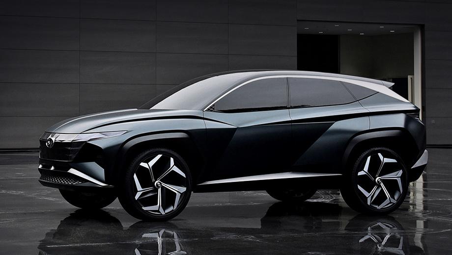 Hyundai vision t,Hyundai concept. Шеф-дизайнер Саньюп Ли оперирует терминами «параметрическая фантазия» и «трансцендентное взаимодействие». Упрощённо говоря, это означает интеграцию фар в решётку, как на новом седане Grandeur и концепте Le Fil Rouge, а также «гриль», набранный из подвижных ячеек.