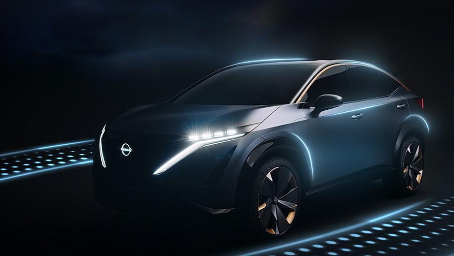 Nissan ariya. Полноприводная Ariya длиной 4600 мм едет в Штаты без каких-либо изменений в дизайне. Товарная версия ожидается на рубеже 2020–2021 годов с ценой в 50–70 тысяч евро.