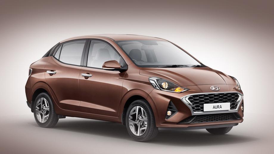 Hyundai aura. Длина, ширина, высота модели равны 3995, 1680, 1520 мм, колёсная база составляет 2450 мм, а объём багажника — 402 л.