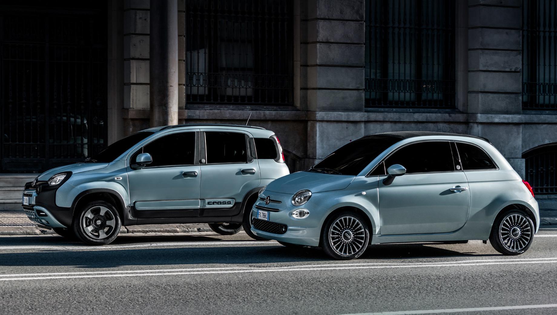 Fiat 500,Fiat panda. Внешне умеренные Фиаты отличаются шильдиками Hybrid на корме и образованным двумя каплями росы логотипом «Н», который размещён на центральных стойках. Внутри узнать гибрид можно по TFT-дисплею в приборке, схематически показывающему процесс рекуперации.
