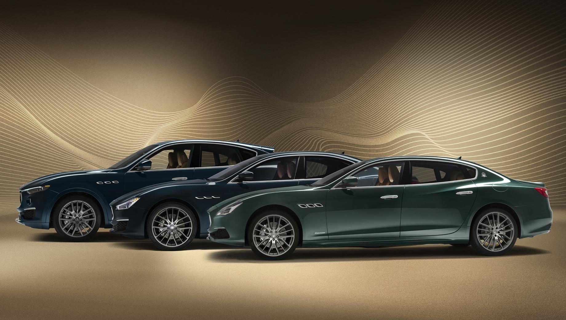 Maserati ghibli,Maserati quattroporte,Maserati levante. Особая серия получила уникальную окраску кузова (два цвета на выбор: синий Blu Royale или зелёный Verde Royale, перекликающиеся с оттенками исторического прототипа), плюс колёсные диски Anteo Staggered Anthracite на паркетнике и Titanium Anthracite на двух седанах, серебристые тормозные суппорты.