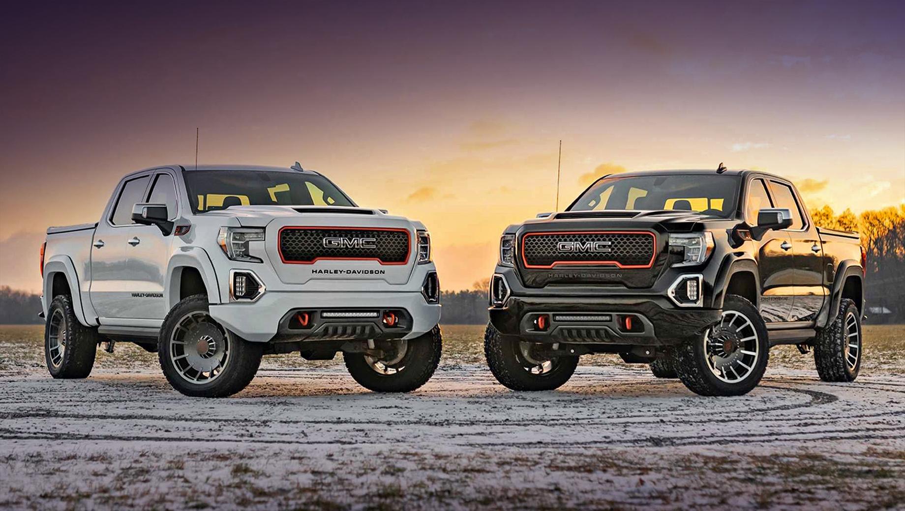 Gmc sierra,Gmc sierra harley davidson. Всего обещают собрать 250 автомобилей специальной серии в трёх цветах: Summit White, Onyx Black или Satin Steel Metallic.
