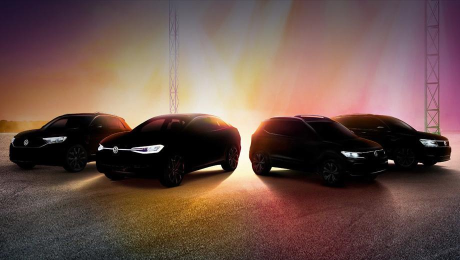 Volkswagen a0. «Мы представим не просто ещё один SUV, а четыре новых SUVW», — заявляет Volkswagen India. На тизере показаны (слева направо): компакт T-Roc, электрический концепт ID. Crozz, новый A0 SUV, Tiguan Allspace.  У трёх машин премьера будет индийской, а у паркетника — мировая.