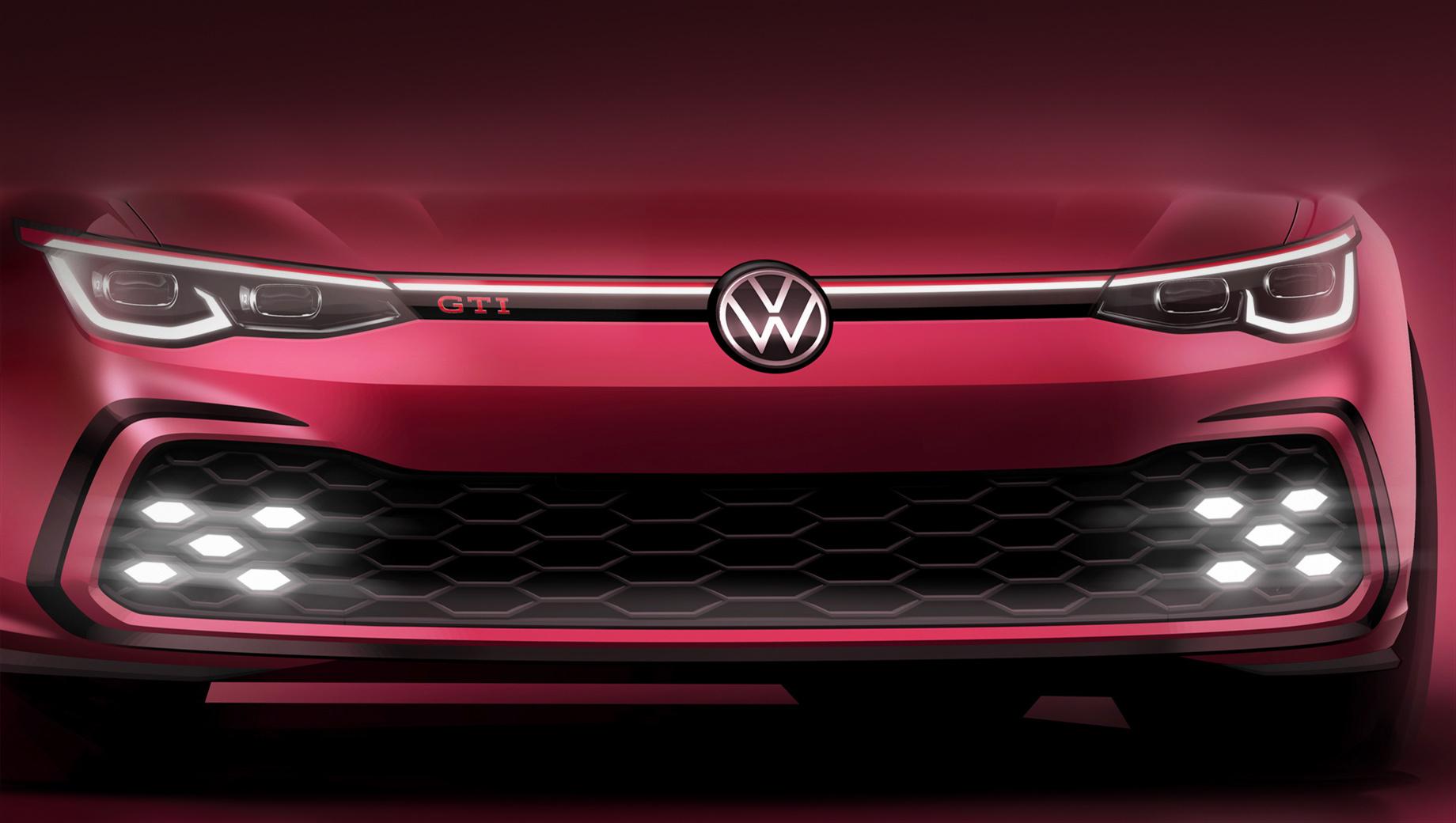 Volkswagen golf,Volkswagen golf gti,Volkswagen golf r. Только неделю назад компания показала тизер дизельного новичка Golf GTD. Как оказалось, носовая часть модели GTI идентична: мы снова видим крупные соты с диодными шестиугольниками по краям. Светящаяся полоса на решётке радиатора — опция.