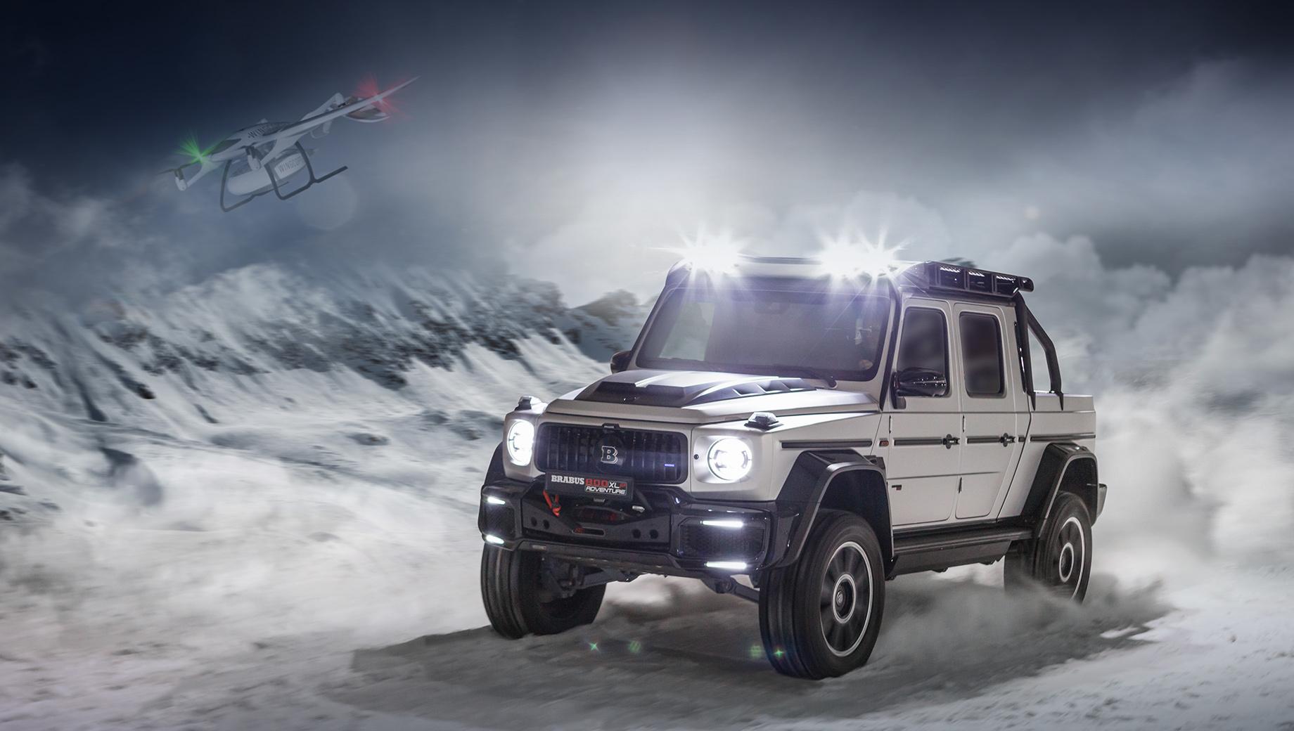 Mercedes g. Длина в сравнении с G 63 выросла на 689 мм (до 5310). Пакет Widestar расширил крылья. Клиренс увеличен благодаря шасси с портальными мостами, разработанному специально для пикапа. При этом адаптивная подвеска Brabus Ride Control управляется с помощью стандартной системы Dynamic Select.