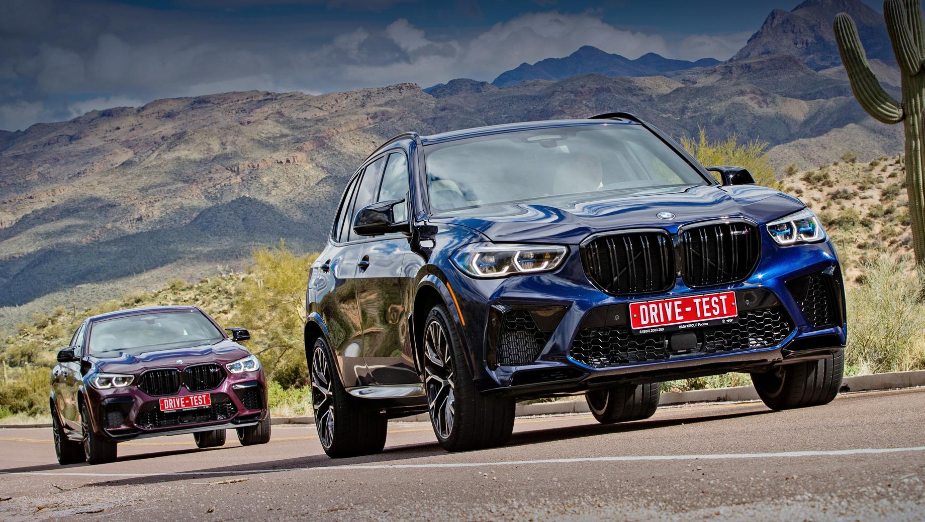Bmw x5 m,Bmw x6 m. C апреля российским клиентам будут поставляться как обычные BMW X5 M и X6 М (600 л.с.), так и версии Competition (+25 л.с.). При прочих равных X6 M дороже на 400 тысяч рублей. Диапазон цен на X5 M ― 8,99–12,13 млн рублей, на X6 M ― от 9,39 до 12,63 млн рублей.
