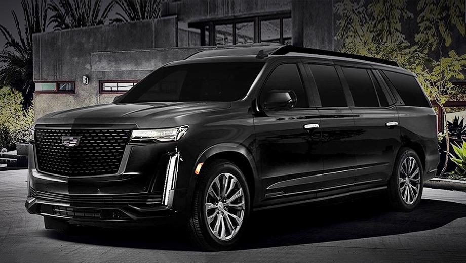Cadillac escalade. Длина такой версии приблизится к шести метрам или чуть превзойдёт эту величину.