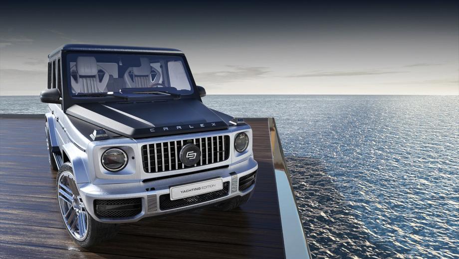Mercedes g amg. Машина получит серебристую окраску с имитацией шлифованного металла и чёрные акценты вроде капота и окантовки окон, а также 22-дюймовые колёсные диски.