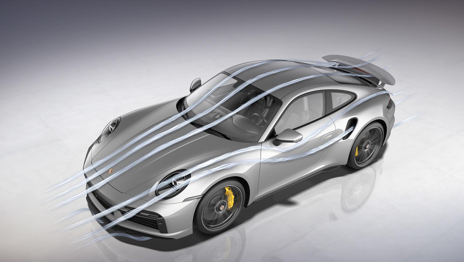 Раскрыты секреты аэродинамики купе Porsche 911 Turbo S