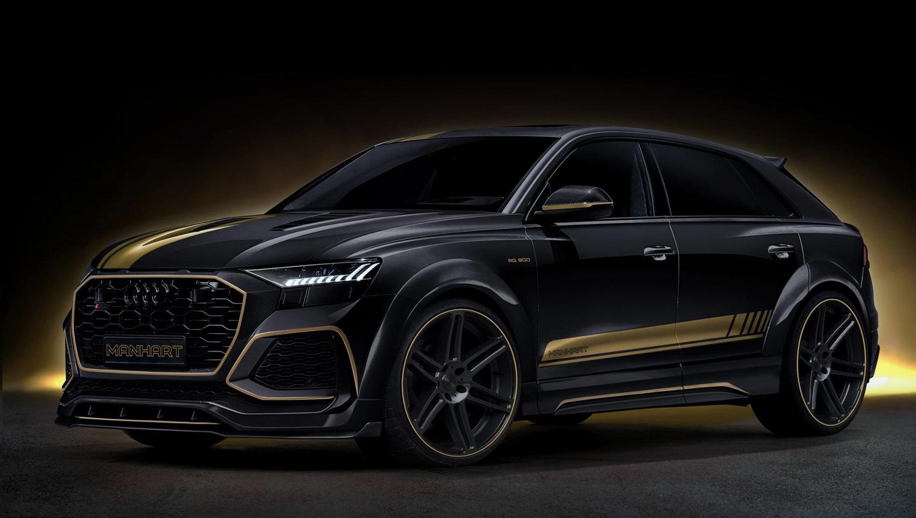 Audi rs q8. Новый аэродинамический обвес предполагает множество элементов из углепластика. Также замене подвергся капот. Образ завершают кованые алюминиевые колёса Concave One диаметром 23 дюйма и комплект занижения подвески на 30 мм.