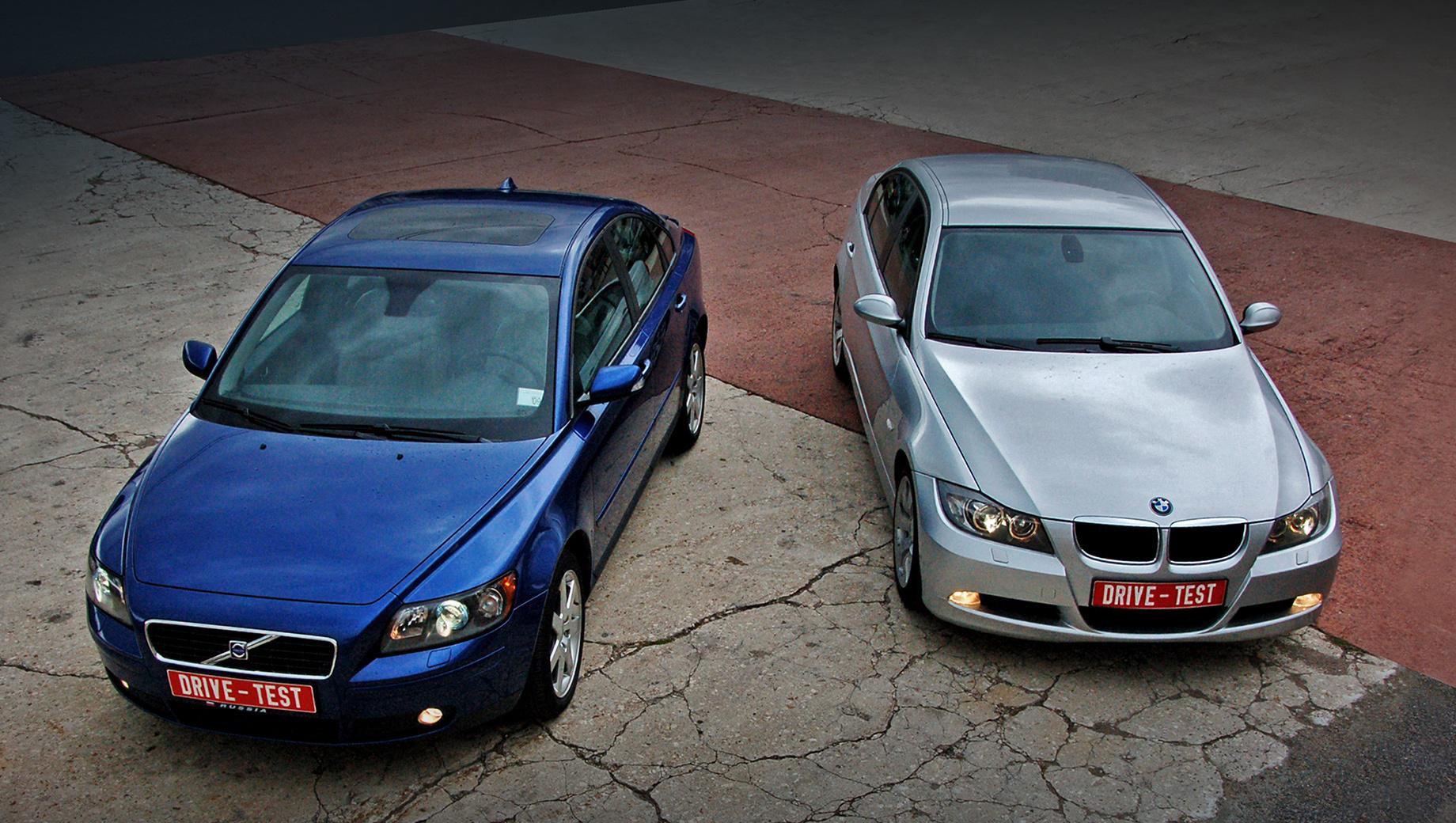 Bmw 3,Bmw _320_vs_volvo_s40,Volvo s40,Volvo bmw_320_vs__s40. Являясь конкурентами, эти автомобили имеют совершенно разные характеры. BMW подчёркнуто спортивна, а Volvo, хоть и превосходит её в динамике, намного более спокойна.