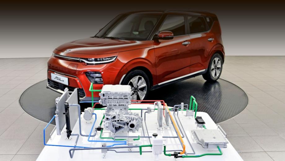 Kia soul ev,Kia niro ev,Hyundai kona electric. Тепловой насос был ещё на «первом» Kia Soul EV 2014 года, а тут показан наследник, современный Soul EV (он же e-Soul). У модели две версии: 136 л.с., 395 Н•м, батарея на 39,2 кВт•ч, 276 км хода и 204 л.с., 395 Н•м, 64 кВт•ч, 452 км.