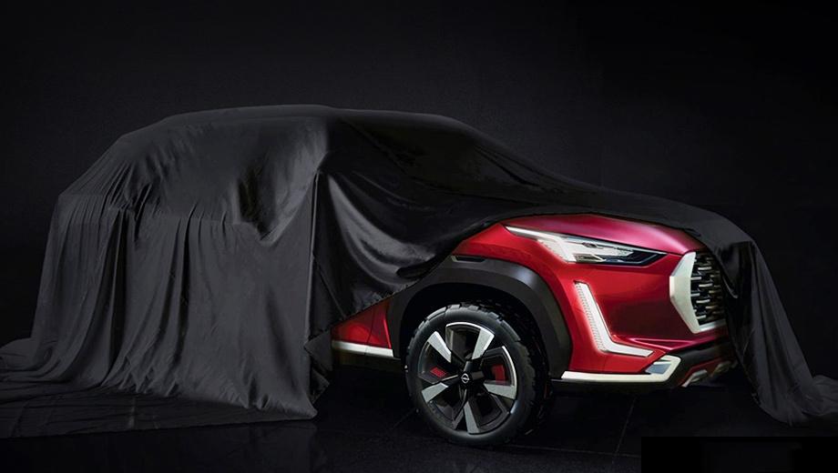 Nissan magnite. Тизер подтверждает, что субкомпакт должен был выйти под брендом Datsun. Восьмиугольную решётку с толстой окантовкой и L-образные огни мы недавно видели у обновлённого хэтчбека redi-GO.
