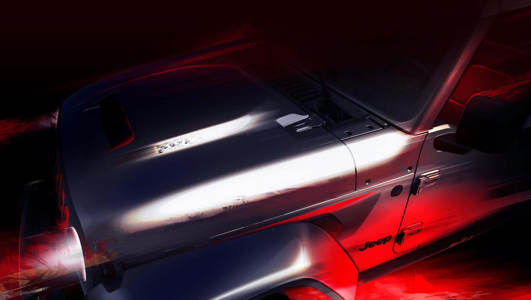 Jeep wrangler,Jeep gladiator. Ранее представители производителя говорили, что мотор V8 под капот Рэнглера вполне помещается. Но официально никто не обещал сделать такой шаг в серии. Тем загадочнее это изображение.