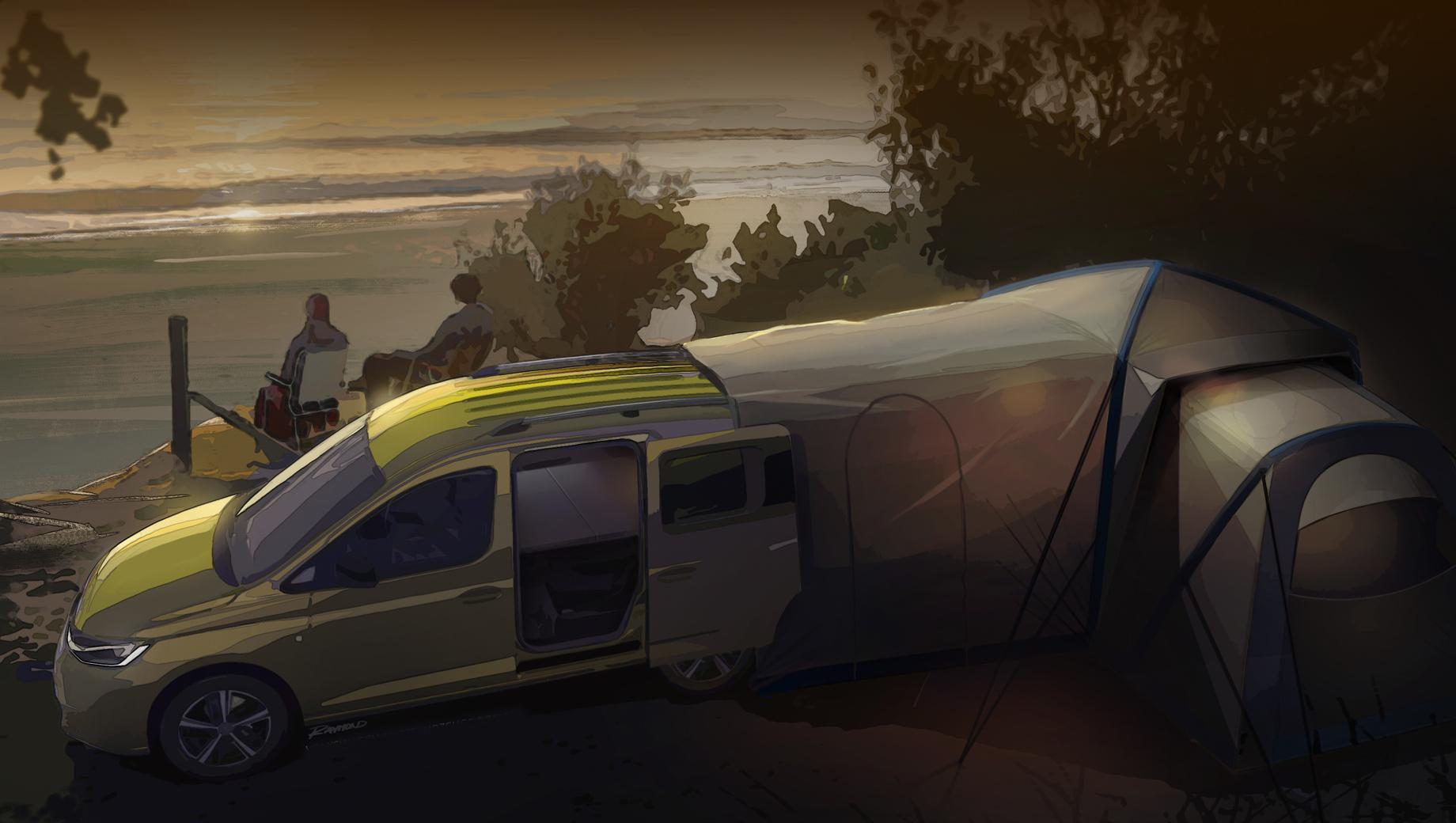 Volkswagen Caddy раскроется в образе кемпера нынешней осенью