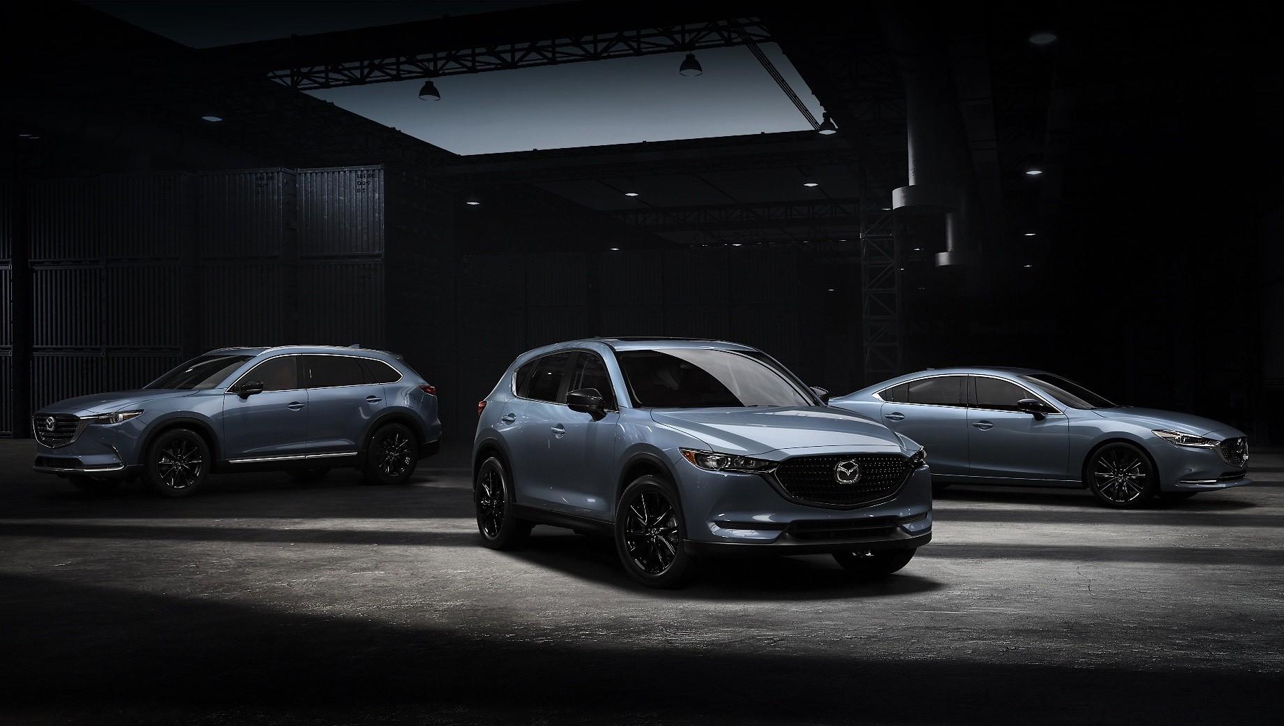 Mazda 3,Mazda 6,Mazda cx-5,Mazda cx-9. Mazda 6, CX-5 и CX-9 в спецверсии Carbon Edition изначально оснащены светодиодной оптикой спереди и сзади, мультимедийной системой с поддержкой Apple CarPlay и Android Auto, аудиосистемой Bose, передними креслами с подогревом, вентиляцией и электроприводом.