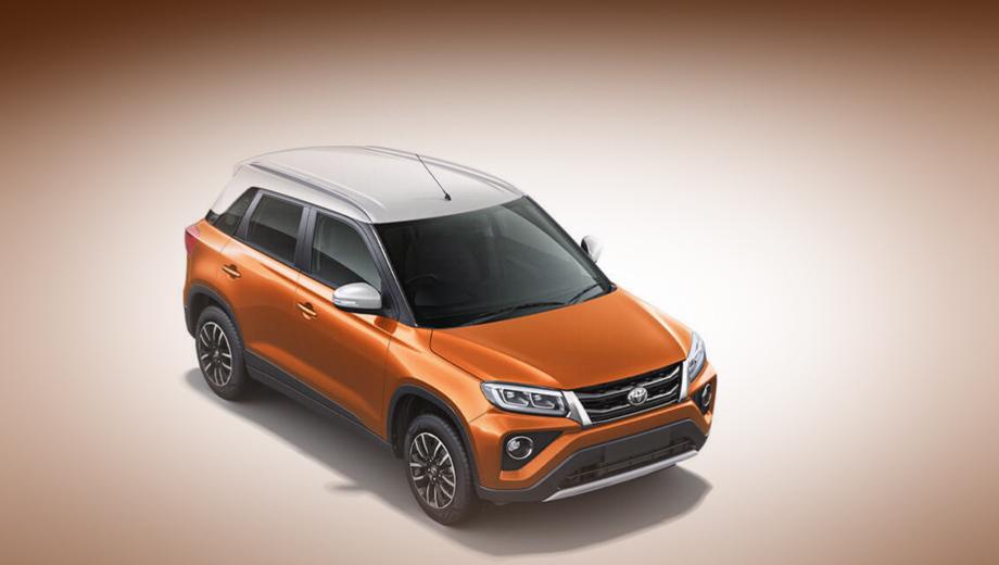 Toyota urban cruiser. Покупателям предложено девять вариантов окраски машины, три из них — двухцветные: основной оранжевый с белой крышей, коричневый с чёрной или синий с чёрной.