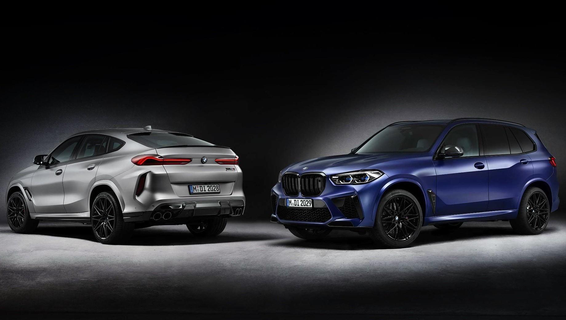 Bmw x5 m,Bmw x6 m,Bmw x5 m first edition,Bmw x6 m first edition. По двигателю и настройкам шасси BMW X5 M и X6 M в комплектации First Edition не отличаются от машин в исполнении Competition. Битурбодвигатель V8 4.4 развивает 625 л.с. и 750 Н•м, время разгона до сотни занимает 3,8 с, а ограниченная электроникой максимальная скорость — 250 км/ч.