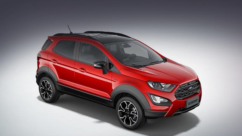 Ford ecosport,Ford ecosport active. Внешне «активист» отличается чёрным поясом из некрашеного пластика, то есть накладками на бамперы, колёсные арки и двери. Шильдики Active размещены только на передних крыльях.