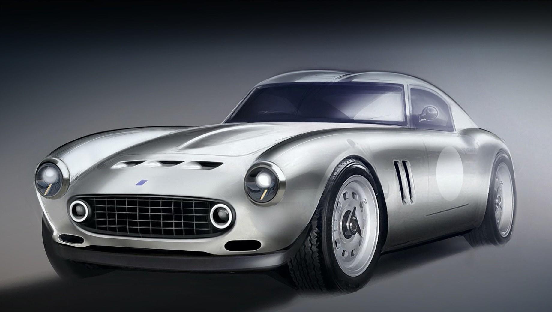 Ferrari 250 gto. Пока компания предоставила на обозрение только рендеры будущего автомобиля. В силуэте с двугорбой крышей безошибочно читается стиль 60-х, а прорисованная оптика намекает на наличие под стилизованной оболочкой современной начинки.
