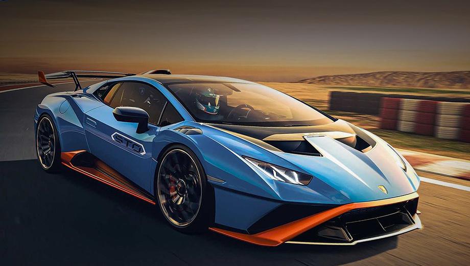 Lamborghini huracan,Lamborghini huracan sto. Внешность купе, по словам шеф-дизайнера Мити Боркерта, продиктована аэродинамикой. Весь передок выполнен как единый компонент, в шутку названный Cofango (cofano — капот, parafango — крыло). Добавленные воздуховоды улучшают охлаждение двигателя и помогают генерировать прижимную силу.