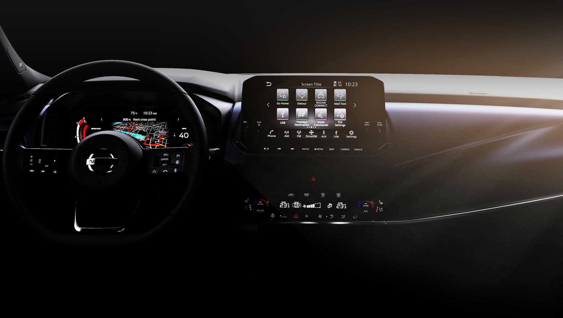 Nissan qashqai. Судя по тизеру, салон Кашкая будет очень близок по дизайну и начинке салону старшего собрата Rogue/X-Trail, с некоторыми расхождениями в передней панели. Премьера состоится лишь в 2021 году.