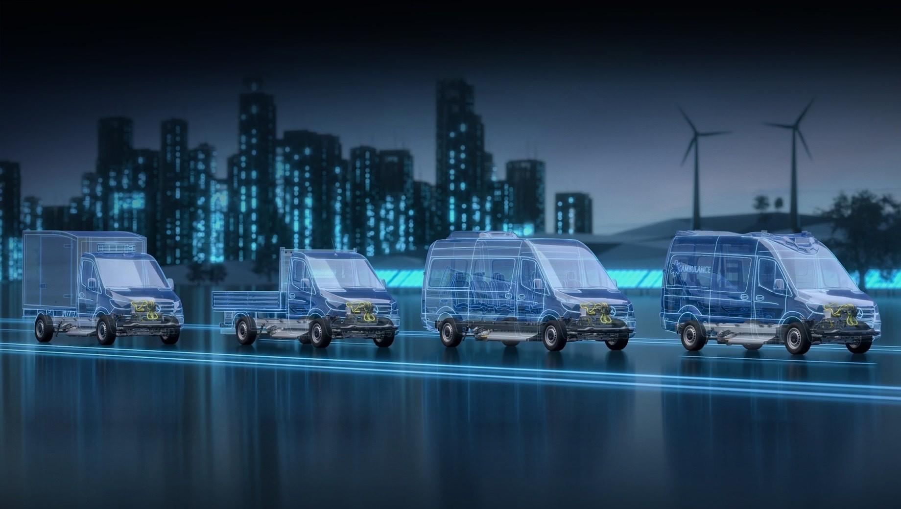 Mercedes esprinter. Mercedes eSprinter продаётся в Германии с мая 2020 года за 51 500 евро (4,6 млн рублей), но доступен только в виде панельного вэна с полной массой 3,5 т и объёмом грузового отсека 11 м³. Преемник же сможет быть ещё бортовым грузовиком, пассажирским автомобилем и транспортом спецслужб.
