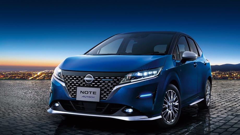 Nissan note,Nissan note autech,Nissan note 4wd. Более дорогая пятидверка спереди украшена особой решёткой с точечным блестящим узором, синими диодными огнями в бамперах, колёсными дисками с оригинальным дизайном, а также серебристым спортивным обвесом по низу кузова.